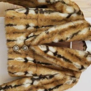 Vintage faux fur tiger strip crop jacket